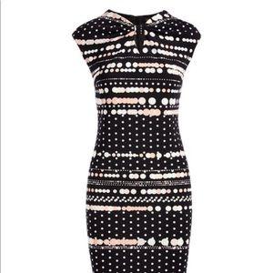 Cap Sleeve Sheath Dress (Black and Blush)